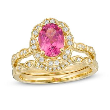 Oval Pink Tourmaline and 1/4 CT. T.W. Diamond Petal Frame Floral Bridal Engagement Ring Set in 14K Gold