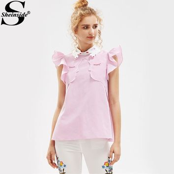 Sheinside Hand Shape Collar Blouse Funny Cute Tops 2017 Face Outline Embroidery Women Summer Tops Flutter Sleeve Tunic Blouse