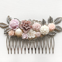Silver Wedding Hair Comb Lilac Mauve Plum Purple Soft Blush Taupe Lavender Bridal Hair Clip Personalised Bridesmaid Gift Flower Hair Slide
