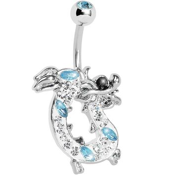 Aqua Gem Lucky Chinese Dragon Belly Ring