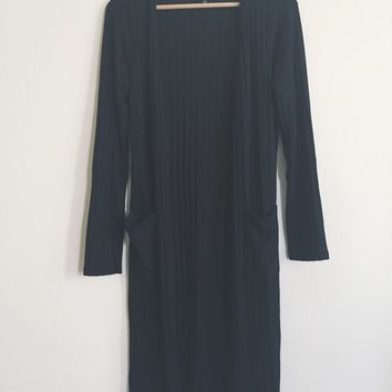 Roanne Ribbed Black Cardigan