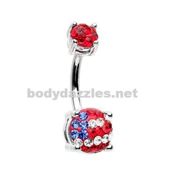 American Flag Sprinkle Dot Gem Prong Sparkle Belly Button Ring Surgical Stainless Steel 14ga