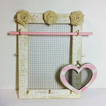 Jewellery organizer frame, Vintage inspired jewelry storage, Stud earring holder, Pale Pink & White jewelry stand, girl gift