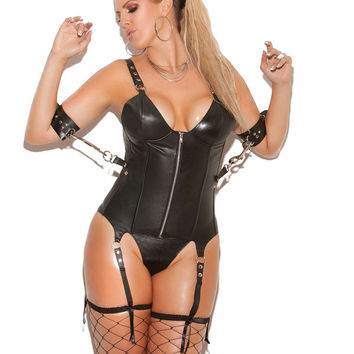 Plus Size Leather zip front corset with underwire cups, boning, and  side snaps for restraints Leather back with lace up detail  Adjustable and detachable garters  Black