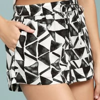 BB Dakota Franco White Print Shorts