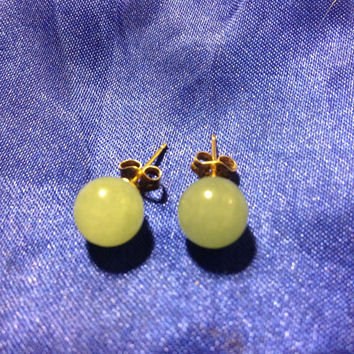 VINTAGE 14K GOLD Jade Earrings 7mm Studs Balls Genuine YG China Green Estate Antique Stamped