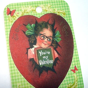 You're My Valentine Gift Tags , Set Of 6 , Retro Girl Tags , Green Valentine Tags , Red Heart Tags , Romantic Valentine Tags