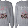 Cute Matching Sweatshirts for Best Friends - BFF Floral Print Grey Sweatshirts