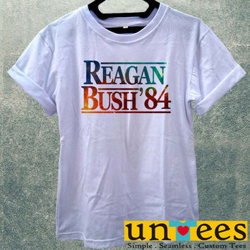Low Price Women's Adult T-Shirt - Reagan Bush 84 Election Classic Galaxy design