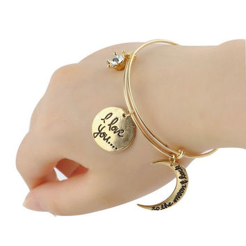 Alex&Ani Crescent I love you To the moon & Back Gold Siver Expandable Bracelet = 1946257540