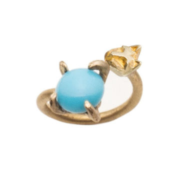 Turquoise and Tiny Cat Ring