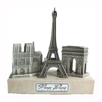 Notre Dame, Eiffel Tower, Arch of Triumph Triptych on Marble - Paris Souvenirs