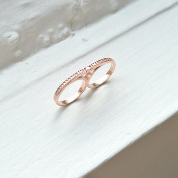 Rose Double Finger Ring - Silver Two Finger Ring - Sterling Silver Ring - Micro Pave Ring - Gift For Her