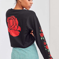 Rose Cropped Long Sleeve Tee | Urban Outfitters