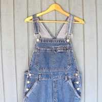 90s Jean Bib Overalls // Dark Wash Carpenter Pants // Jeans. Bibs. Juniors size L