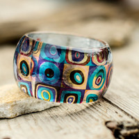 Kandinsky resin bracelet design, abstract painting, study of the colors and shapes, Cubism art jewelry, Squares with Concentric Circles
