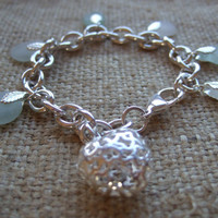 Scottish sea glass in sea foam and white on silver plated bracelet with silver plated filigree heart, sea glass charm bracelet Valentine's