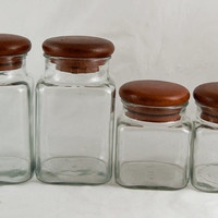 Set of Four Dolphin Teak Glass Canisters Storage Jars - Retro Canister Set