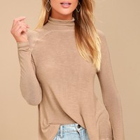 Weekend Snuggle Light Brown Mock Neck Sweater Top