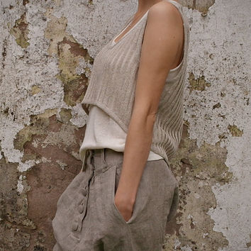 Handmade Sheer Linen (Flax) Top, Custom Size