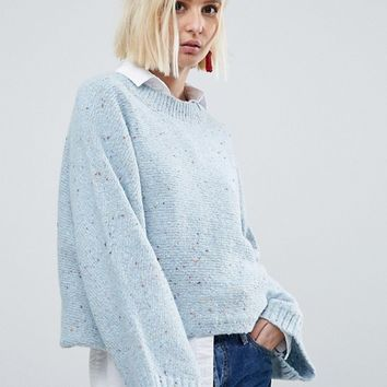 River Island Speckle Balloon Sleeve Jumper at asos.com