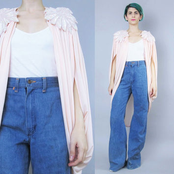 80s Draped Cocoon Jacket Grecian Draped Cape Blouse Sequins Shoulder Evening Jacket Open Front Batwing Top Pastel Pink Cardigan Robe (L/XL)