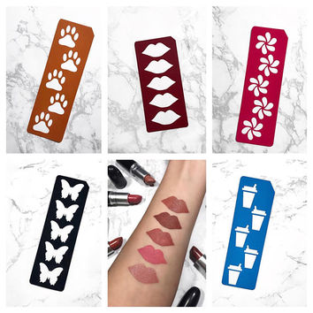 5 Section Makeup Swatch Stencils (Flower Swirl, Paw Prints, Lips, Butterflies, or Coffee Cups)