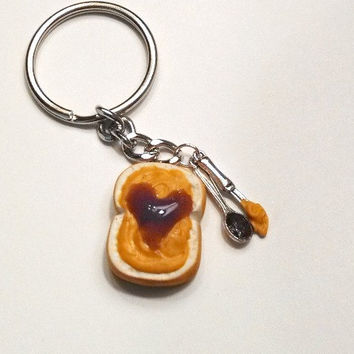 Peanut Butter with Jelly Heart Key Chain, Polymer Clay, Food Accessories