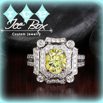 Canary Yellow Moissanite Engagement 6 x 8mm 1.5ct Oval in a 14K White Gold Diamond Art Deco Halo Setting
