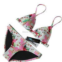 New Design Floral Triangle Women Neoprene Bikini Set Swimwear Swimsuit Bathing Suit Top & Bottom Biquini -0311