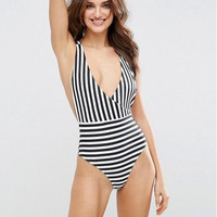 High Quality Comfortable Vest Summer Stripes Sexy Backless Spaghetti Strap Swimwear [10467517524]