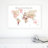 """30x20"""" PRINTABLE world map with countries & names, dusty shades. """"Where our love has traveled so far"""" diy travel pinboard map - map 138 R02"""