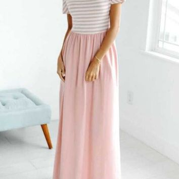 Pink-White Patchwork Striped Print Pockets Draped High Waisted Flowy Party Maxi Dress