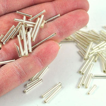 Silver Bugle Beads Loose - Tube - Barrel - Mixed Sizes - Jewellery and Craft Supplies - 25 pcs -  by DeeDeeSupplies Australian Seller