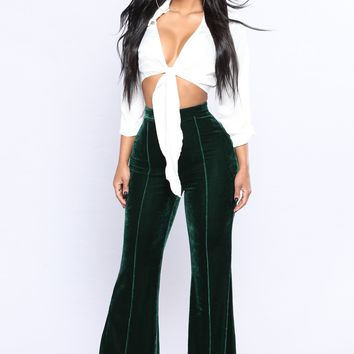 Karmela Velvet Pants - Hunter Green