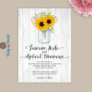 Mason Jar wedding invitation printed | Rustic Shabby chic sunflower wedding invitations | Orange and black