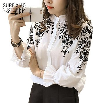 2017 Fashion Female Clothing Embroidery Blouse Shirt Cotton Korean Flower Embroidered Tops Korean Style Fresh shirt 529E 25