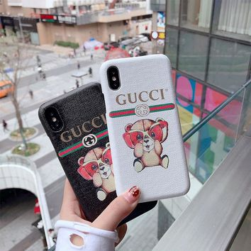 """Gucci"" Cute Cartoon Bear Letter Print iPhoneX/8/6S Hard Phone Case iPhone7 Plus Couple Apple Leather Phone Shell"