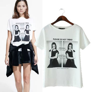 Women's Fashion Stylish Pattern Print White Short Sleeve Slim Tops T-shirts [5013404804]