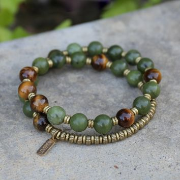 Jade and Tigers Eye Mala Bracelet