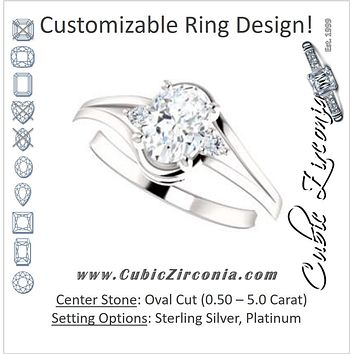 Cubic Zirconia Engagement Ring- The Erma (Customizable Oval Cut 3-stone Style with Small Round Cut Accents and Tapered Split Band)