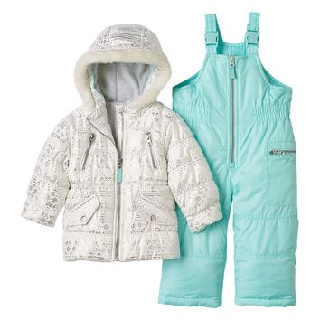 Carter's Foiled Fairisle Hooded Jacket & Bib Snow Pants Set - Girls