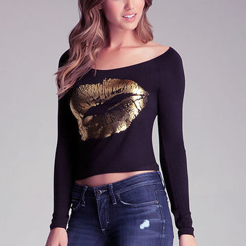 Black Lip Gold Print Long-Sleeve Tee