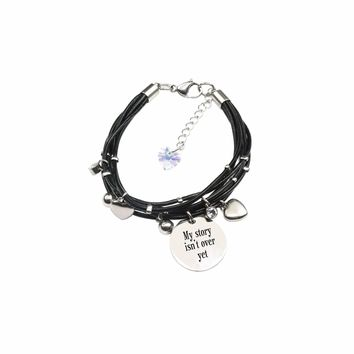 Genuine Leather Bracelet Made With Crystals From Swarovski - My Story Isn'T Over Yet