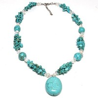 """18"""" Beautiful Green Color Simulated Turquoise with Freshwater 18 Inch Necklace"""