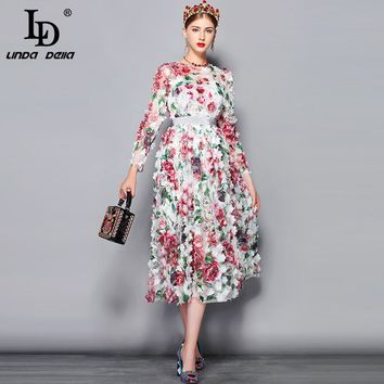 LD LINDA DELLA 2018 Autumn Fashion Runway Dress Women Long Sleeve Luxury Mesh Appliques Flower Embroidery Elegant Party Dress