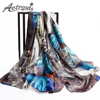 [AETRENDS] 2017 Brand Scarves Colorful Butterfly Print Silk Scarf Women Shawl Pashmina Z-2904