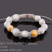 Amsterdam white agate and yellow coral shamballa bracelet