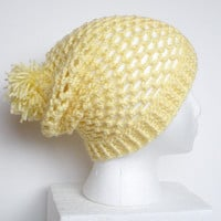 Slouchy Crochet Beanie Hat in Lemon Yellow, vegan friendly, ready to ship.