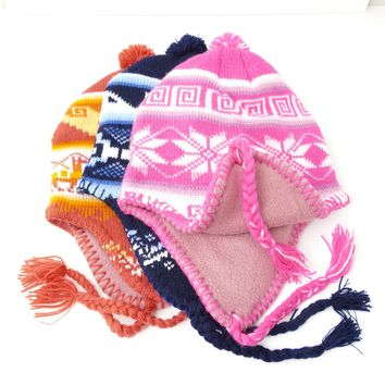 "7 Assorted Alpaca Wool ""Chullo"" Hat With Fleece Inner lining ( $6 Unit Price)"